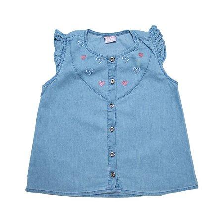 Blusa Jeans Infantil Bordado Coração Jeito Infantil Azul