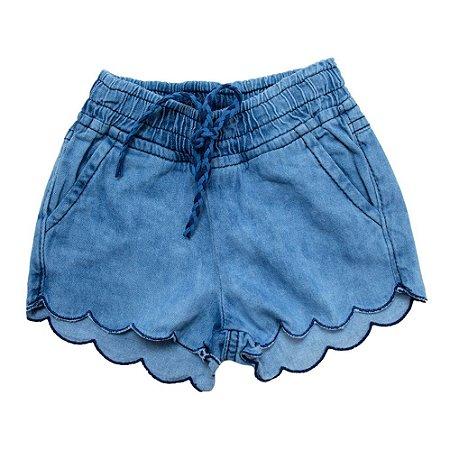 Shorts Jeans Bebê Bordado Nuvem Jeito Infantil Azul