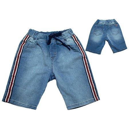 Bermuda Jeans Infantil Faixa e Cadarço Jeito Infantil Azul