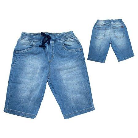 Bermuda Jogger Infantil Jeans Com Cadarço Jeito Infantil Azul