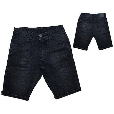 Bermuda Juvenil Com Amassado Jeans Jeito Infantil Preto