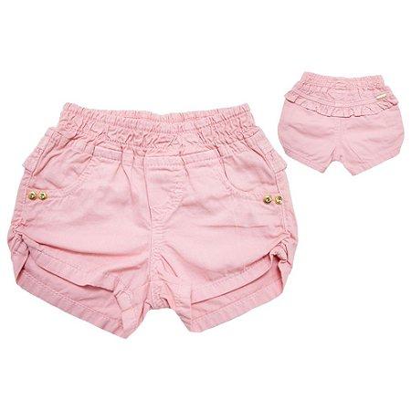 Shorts Bebê Sarja Com Babado  Jeito Infantil Salmão