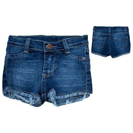 Shorts Bebê Jeans Com Desfiado Jeito Infantil Azul