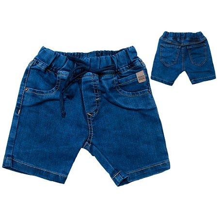 Bermuda Infantil Com Cadarço Jeans Jeito Infantil Azul