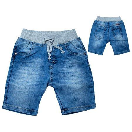 Bermuda Jeans Infantil Cós Ribana Jeito Infantil Azul Claro