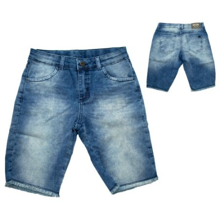 Bermuda Jeans Infantil Manchada Jeito Infantil Azul