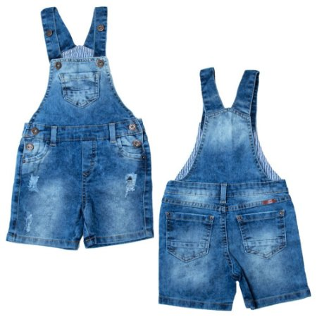 Jardineira Jeans Infantil Bolso Jeito Infantil Azul