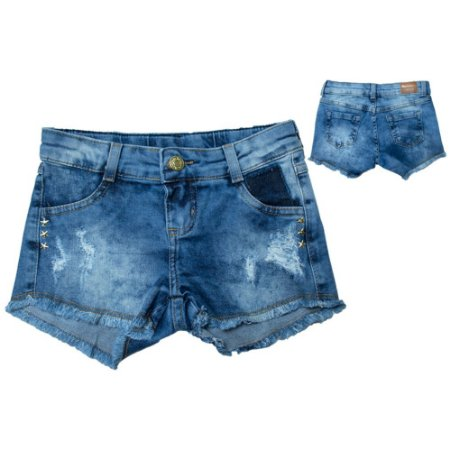 Shorts Jeans Aplique Estrela Jeito Infantil Azul