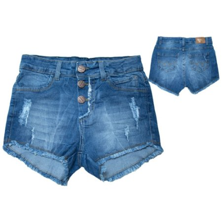 Shorts Jeans Juvenil Com Botões Jeito Infantil Azul