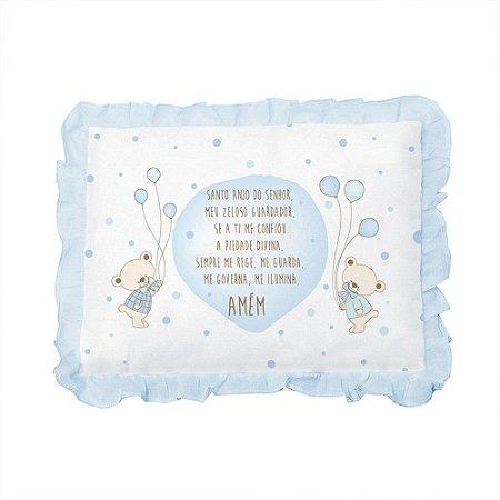 Travesseiro Bebê Oração Santo Anjo Papi Azul