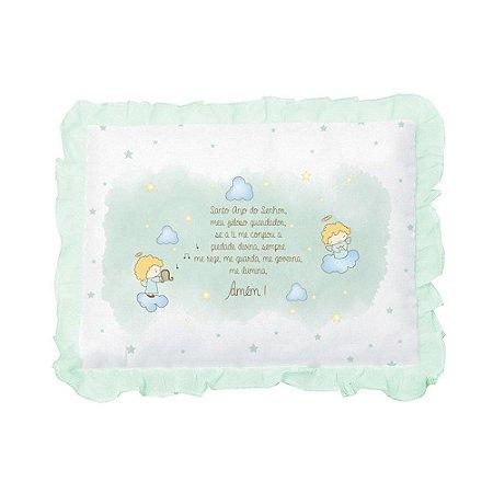 Travesseiro Bebê Oração Santo Anjo Papi Verde