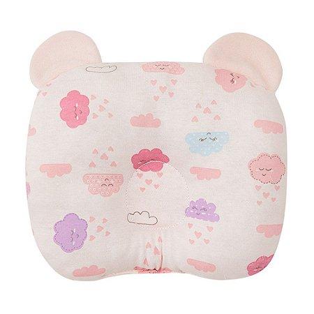 Travesseiro Bebê Anatômico Com Orelhinhas Papi Rosa