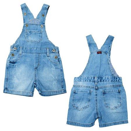 Jardineira Jeans Infantil Jeito Infantil Azul Claro