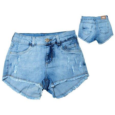 Shorts Jeans Lycra Juvenil Jeito Infantil Azul Claro