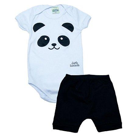 Conjunto Bebê Body Panda Jeito Inocente Branco