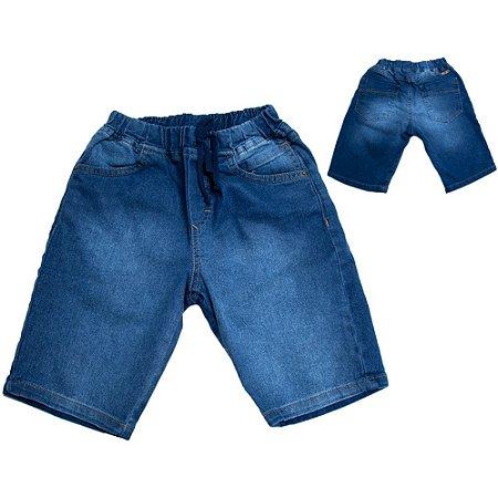 Bermuda Jeans Jogger Infantil Com Cadarço Jeito Infantil Azul