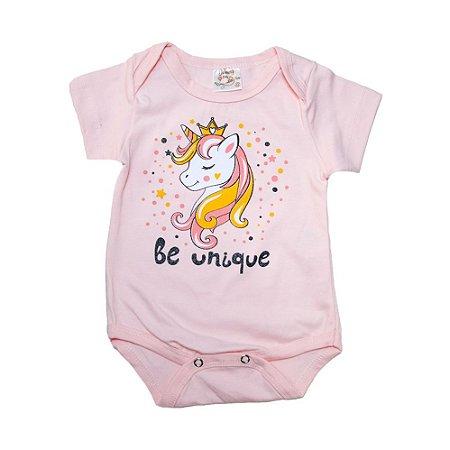 Body Bebê Unicórnio Nanny Baby Rosa