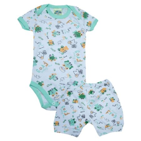 Conjunto Bebê Body Sapinho Jeito Inocente Branco e Verde