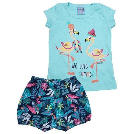 Conjunto Bebê Flamingo Ba & Bi Verde
