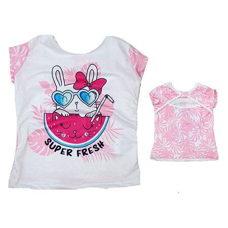 Blusa Infantil Coelhinha Kibs Kids Rosa