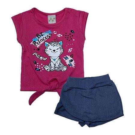 Conjunto Infantil Gatinha Kibs Kids Pink