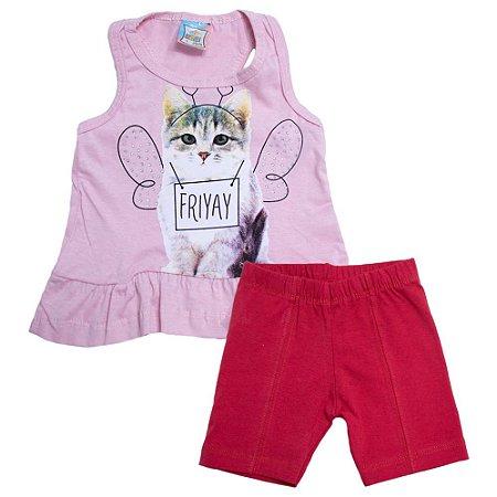 Conjunto Infantil Gatinha Inova Kids Rosa
