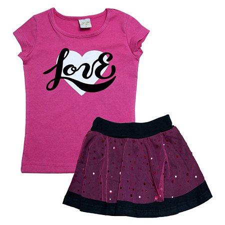 Conjunto Infantil Love Kibs Kids Pink