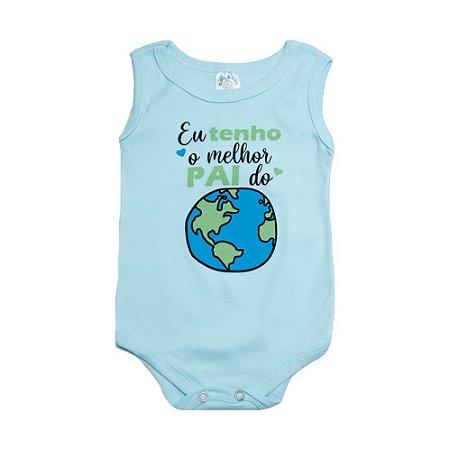 Body Regata Bebê Melhor Pai Do Mundo Meu Bebê Verde