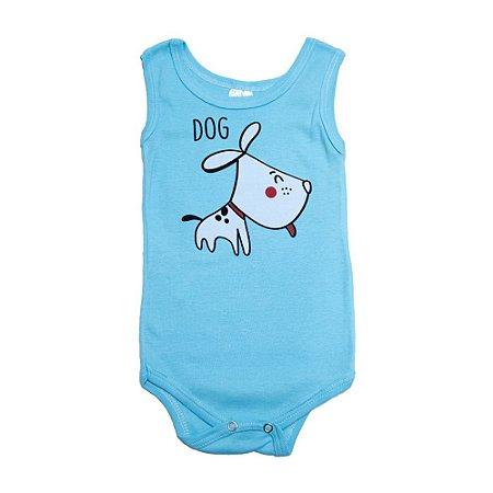 Body Regata Bebê Dog Meu Bebê Azul