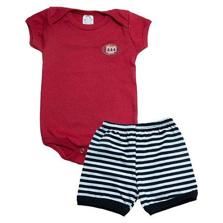 Conjunto Bebê Body Menino Meu Bebê Vermelho