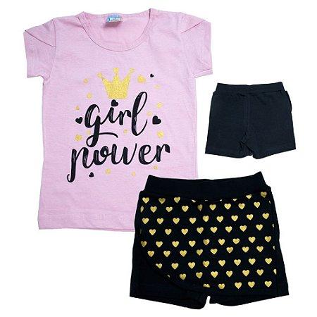 Conjunto Infantil Girl Power Inova Kids Rosa