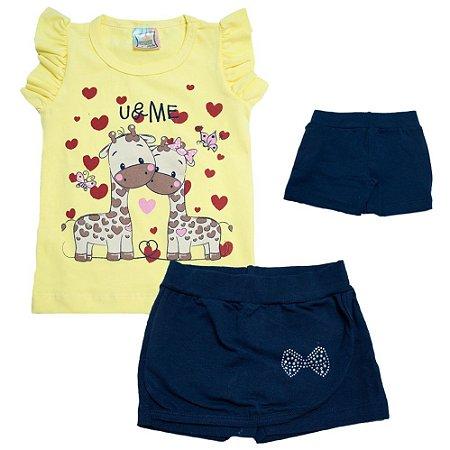 Conjunto Infantil Girafa Inova Kids Amarelo
