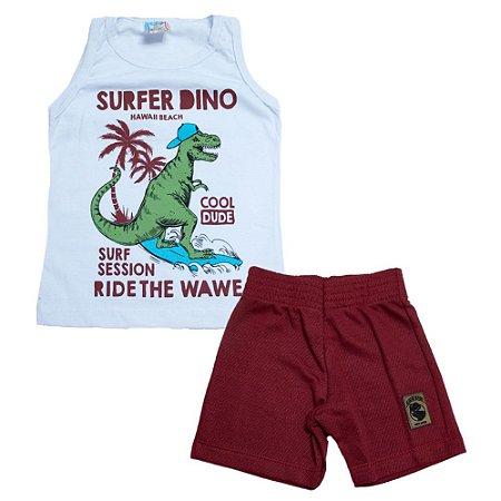 Conjunto Infantil Surfer Dino Inova Kids Branco