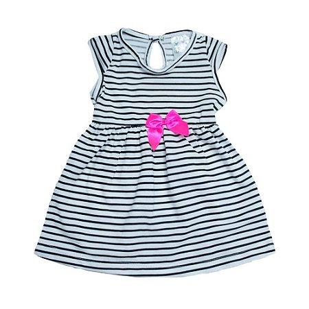 Vestido Bebê Listras Uni Duni Branco