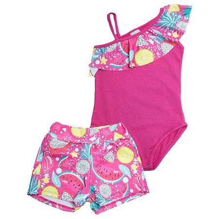 Conjunto Infantil Body Frutas Kibs Kids Pink