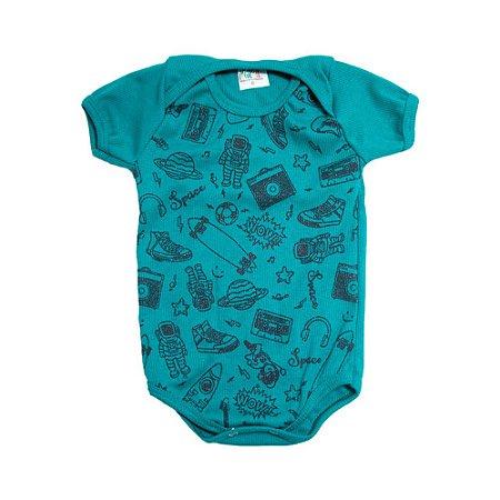 Body Bebê Astronauta Jeito Infantil Verde