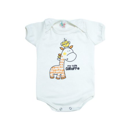Body Bebê Girafa e Passarinho Jeito Infantil Pérola