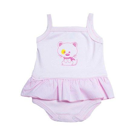 Body Bebê Alcinha Com Bordado Feroz Baby Rosa