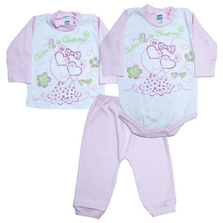 Kit Bebê Body e Blusa Feroz Baby Rosa