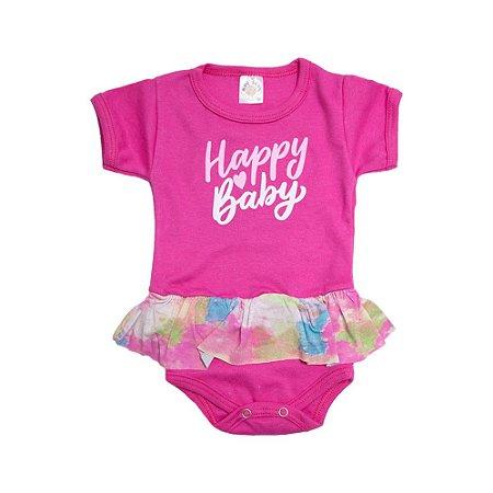 Body Bebê Happy Baby Com Babado Meu Bebê Pink
