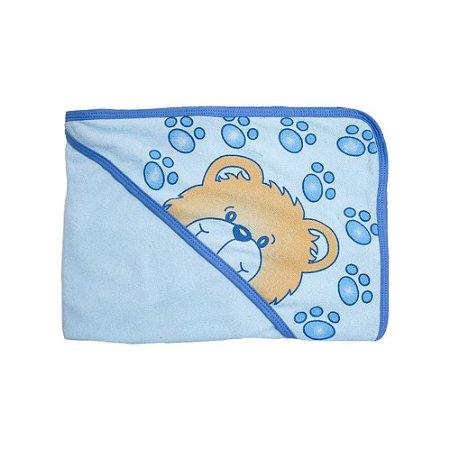 Toalha Bebê Com Touca Feroz Baby Azul