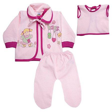 Conjunto Bebê Pagão Com Estampa Feroz Baby Rosa