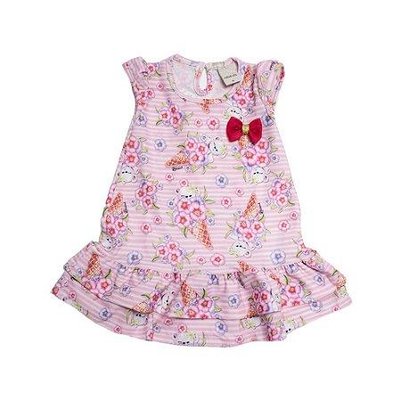 Vestido Bebê Dois Babados  Ralakids Rosa