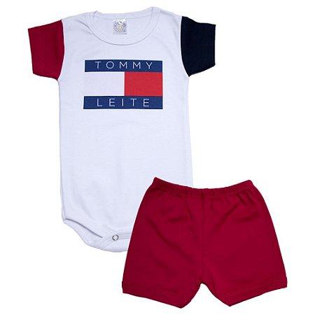 Conjunto Bebê Body Tommy Meu Bebê Vermelho
