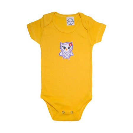 Body Bebê Coruja  Lolita Amarelo
