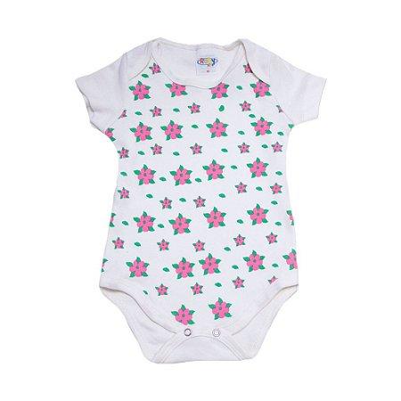 Body Bebê Flores Roby Kids Pérola