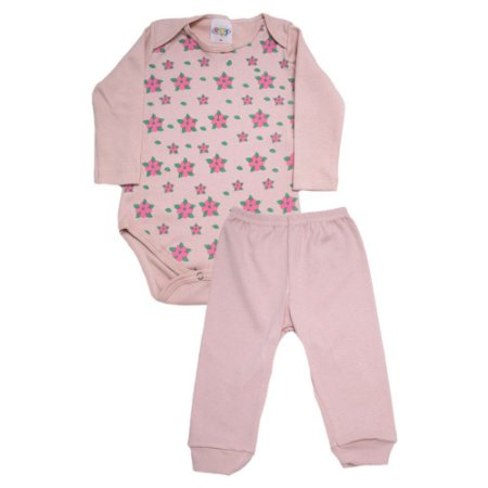 Conjunto Bebê Body Floral Roby Kids Rose