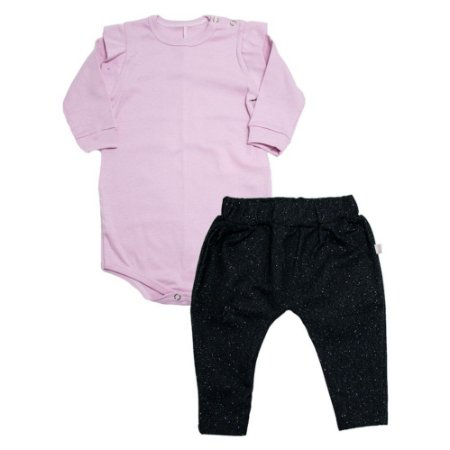 Conjunto Bebê Body e Saruel Brilho Baby Gut Rosa