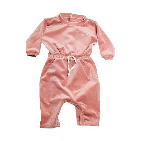 Macacão Bebê Com Elástico  Na Cintura Baby Gut Rosê