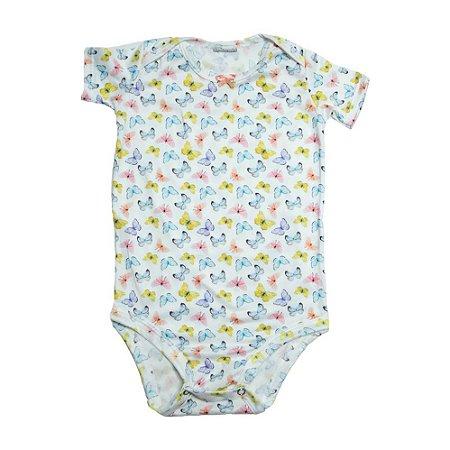 Body Bebê Borboletas Baby Gut Branco